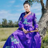 Dress Winter of 2019 violet S,M,L,XL Flower making D226090 More than 95% polyester fiber