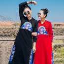 Dress Autumn of 2019 Black blue edge, black red edge, red blue edge S,M,L,XL Mid length dress singleton  Long sleeves commute Hood routine Flower making ethnic style Embroidery, buttons A226506