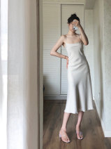 Dress Winter 2020 Cream white, smoke purple, earth orange, earth gray S,M,L,XL Mid length dress singleton  Sleeveless commute Dangling collar High waist Solid color Socket A-line skirt routine Type H Korean version Zipper, original PQ-50-4153 30% and below Silk and satin polyester fiber
