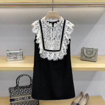 Dress Summer 2021 Black, white 1 / s, 2 / m, 3 / L Short skirt singleton  Sleeveless commute stand collar High waist Solid color zipper A-line skirt routine Others 25-29 years old Type A More than 95% knitting polyester fiber