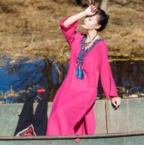 Dress Spring of 2018 rose red Average size longuette singleton  three quarter sleeve commute V-neck Loose waist Broken flowers Socket Big swing Petal sleeve 35-39 years old Type H You Jin ethnic style Tassels, stickers, pockets, stitching 51% (inclusive) - 70% (inclusive) hemp