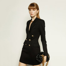 Dress Autumn 2020 XS,S,M,L,XL Middle-skirt Long sleeves commute tailored collar Type X