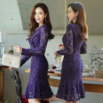 Dress Spring of 2018 S M L XL 2XL 3XL Mid length dress singleton  Long sleeves commute Crew neck middle-waisted Solid color Socket A-line skirt routine Others 25-29 years old Korean version Lace with ruffle and cut-out stitching zipper More than 95% Lace other Other 100% Pure e-commerce (online only)