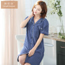 Nightdress 86187 royal blue M L XL XXL XXXL Sweet Short sleeve pajamas Middle-skirt summer stripe youth Small lapel cotton Button decoration More than 95% pure cotton Spring of 2019 Cotton 100% Pure e-commerce (online only) Cotton 100%