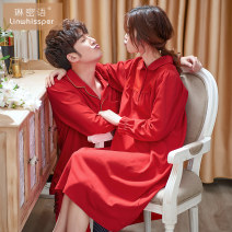 Pajamas / housewear set lovers Linwissper / linwissper M L XL XXL XXXL 88587 women's Scarlet [nightdress] 98630 men's Scarlet cotton Long sleeves Simplicity pajamas autumn routine Small lapel Solid color trousers Front buckle youth 2 pieces rubber string More than 95% pure cotton Button decoration
