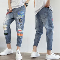 Jeans Youth fashion Lien noos / Renault deer 28 29 30 31 32 33 34 routine Micro bomb Regular denim CK05 Ninth pants Cotton 83.3% viscose (viscose) 11.3% polyester 5.4% autumn teenagers Medium low back Slim feet tide 2019 Pencil pants zipper Wash with water and snow printing Autumn of 2019