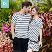 Pajamas / housewear set female I'd / AIDI M,L,XL,XXL,XXXL Black and white stripe - male, black and white stripe - female cotton Short sleeve Simplicity Leisure home summer Thin money Crew neck stripe shorts Socket youth 2 pieces rubber string More than 95% pure cotton JJF92031401 Short skirt