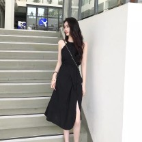 Dress Summer 2020 Black Khaki S M L XL Mid length dress Two piece set Short sleeve commute Crew neck High waist Solid color Socket A-line skirt routine Hanging neck style 25-29 years old LAN Xiangshe Korean version belt More than 95% other Other 100.00%