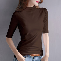 T-shirt White ginger Black Brown S M L XL XXL Autumn of 2019 elbow sleeve Half high collar Self cultivation Regular routine commute cotton 86% (inclusive) -95% (inclusive) Korean version Solid color stitching Chive D103 135 New in autumn and winter of 2019