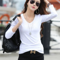 T-shirt White black ginger pink grey XXXL S M L XL XXL Spring of 2019 Long sleeves V-neck Self cultivation Regular routine commute cotton 86% (inclusive) -95% (inclusive) 25-29 years old Simplicity classic Solid color Chive C260 04 Cotton 95% polyurethane elastic fiber (spandex) 5%