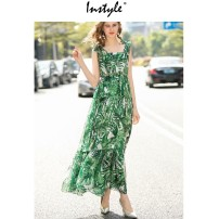 Dress Spring 2020 green S,M,L,XL longuette singleton  Sleeveless street One word collar middle-waisted Decor Socket Big swing Others 25-29 years old Type A X1228-2433 51% (inclusive) - 70% (inclusive) Chiffon polyester fiber Europe and America