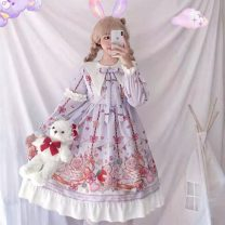 Dress Autumn of 2019 Purple, purple + airplane box Average size Mid length dress singleton  Long sleeves Sweet Admiral middle-waisted Decor Princess Dress routine Others Other / other solar system