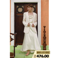 suit Autumn of 2019 white Two, four, six Long sleeves routine easy Green fruit collar Single breasted Original design routine Solid color 25-29 years old 96% and above silk wingfree Button
