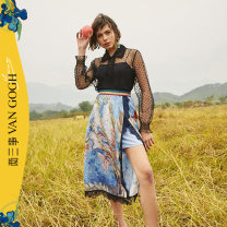 skirt Summer 2021 S M L Decor longuette Retro High waist A-line skirt Decor Type A 25-29 years old S21CKBO31 More than 95% Two or three things polyester fiber Patchwork printed lace Polyester 100% Same model in shopping mall (sold online and offline)