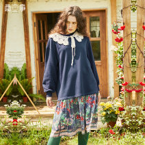 Dress Winter 2020 Dark blue yellow S M Short skirt singleton  Long sleeves Sweet Crew neck Loose waist scenery Socket other other 18-24 years old Type H Two or three things Stitched lace print S20DLY003 More than 95% cotton Cotton 100% college Same model in shopping mall (sold online and offline)