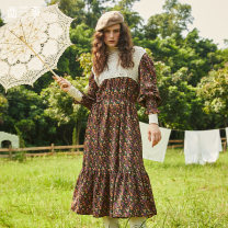 Dress Winter 2020 Decor S M longuette singleton  Long sleeves commute square neck middle-waisted Broken flowers Socket other puff sleeve 18-24 years old Type H Two or three things Retro Patchwork lace print More than 95% polyester fiber Polyester 100%