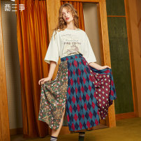 skirt Autumn 2020 S M L Red blue longuette Retro High waist Pleated skirt Decor Type A 18-24 years old More than 95% Two or three things polyester fiber Patchwork printing Polyester 100% Same model in shopping mall (sold online and offline)