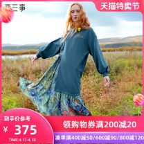 Dress Winter 2020 blue S M longuette Fake two pieces Long sleeves commute Crew neck Loose waist Decor Socket Irregular skirt other Others 18-24 years old Type H Two or three things Retro Printed embroidery stitching S20DLY014 More than 95% cotton Cotton 97.5% polyurethane elastic fiber (spandex) 2.5%