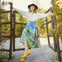 skirt Autumn 2020 S M L Decor Mid length dress Retro High waist A-line skirt scenery Type A 18-24 years old S20QKB011 51% (inclusive) - 70% (inclusive) Two or three things Viscose printing Same model in shopping mall (sold online and offline)