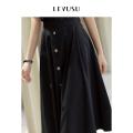 skirt Summer 2021 S M L XL Black B0 Khaki C0 white w0 longuette commute High waist A-line skirt Solid color Type A 30-34 years old E1SEC031C More than 95% Chiffon Levu'su / art elements cotton Button Cotton 100%