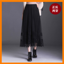 skirt Autumn 2020 Mid length dress commute High waist Pleated skirt Solid color Onoev Korean version