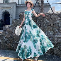 Dress Summer of 2019 green S M L XL XXL XXXL longuette singleton  Short sleeve Sweet square neck middle-waisted Decor Socket Big swing other Others 25-29 years old Type A Shenlan dress printing More than 95% Chiffon polyester fiber Polyester 99% other 1% Bohemia Exclusive payment of tmall
