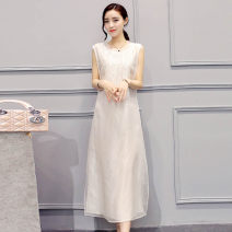 Dress Summer 2020 White black S M L XL 2XL 3XL 4XL 5XL Mid length dress singleton  Sleeveless commute Crew neck Socket 35-39 years old Xi Li Korean version 1019YYQX!@#$!# More than 95% other Other 100% Pure e-commerce (online only)
