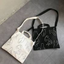 Bag The single shoulder bag canvas Tote Bag Other / other White black brand new Japan and South Korea in leisure time soft yes Single root One shoulder hand nothing youth