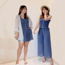 Women's large Summer 2021 Other oversize styles singleton  commute easy thin Socket Long sleeves Solid color Korean version routine polyester Collage routine Four piece suit Fenghuang Yiwu 18-24 years old fungus 96% and above shorts