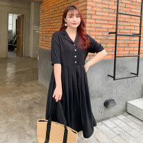 Women's large Summer 2021 black XL reference weight 125-155 kg, 2XL reference weight 155-180 kg, 3XL reference weight 180-210 kg, 4XL reference weight 210-240 kg Dress singleton  commute easy thin Socket Short sleeve Solid color Korean version other Medium length polyester fold routine Fenghuang Yiwu