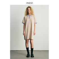 Dress Summer 2021 Purple green S M L Middle-skirt Short sleeve Polo collar middle-waisted lattice Three buttons Pencil skirt puff sleeve Others 25-29 years old Type H INSIS FEMME 21SSMTSW54 31% (inclusive) - 50% (inclusive) cotton Cotton 45% flax 35% polyethylene terephthalate (polyester) 20%