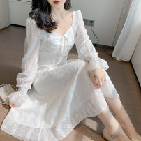 Dress Spring 2021 white S,M,L,XL longuette singleton  Long sleeves Sweet square neck middle-waisted zipper A-line skirt pagoda sleeve 18-24 years old Type A Chiffon college