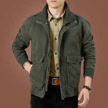 Jacket KPB Business gentleman M L XL 2XL 3XL 4XL 5XL 6XL routine standard Other leisure autumn Cotton 100% Long sleeves Wear out stand collar Business Casual middle age routine Zipper placket Rib hem washing Closing sleeve Solid color Autumn of 2019 More than two bags) Mingji thread patch bag cotton
