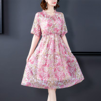 Women's large Summer 2020 Pink S M L XL 2XL 3XL Dress Two piece set commute elbow sleeve Decor Korean version V-neck routine MNRJ9366 Maiba Qi 35-39 years old Medium length Other 100% Pure e-commerce (online only)
