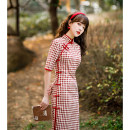 cheongsam Spring 2021 S M L XL 2XL 3XL YX red edge checkered pattern YX blue edge checkered pattern qzx small pearl placket black lattice breasted red lattice fishtail Short sleeve Short cheongsam Retro Low slit daily Oblique lapel lattice 18-25 years old Piping Y0124 Yan Fuxiu other Other 100%