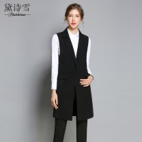 Vest Spring 2021 black S M L XL Medium length tailored collar street Solid color A button other 25-29 years old 96% and above polyester fiber Pocket panel button Polyester 96.8% polyurethane elastic fiber (spandex) 3.2% Pure e-commerce (online only)