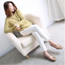 sweater Autumn 2020 One size, plus size, chest 102 cm Milky white, light gray, pink, light blue, purple, nude, bean green Long sleeves Socket singleton  have cash less than that is registered in the accounts wool 30% and below Crew neck Thin money Sweet routine Solid color Straight cylinder Fine wool