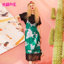 Dress Summer of 2018 S M L XL Mid length dress singleton  Sleeveless street V-neck middle-waisted Big flower Socket A-line skirt other camisole 18-24 years old Type A Goblin's pocket Splicing More than 95% Chiffon polyester fiber Polyester 100% Europe and America