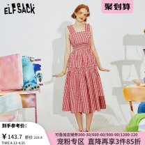 Dress Summer 2020 Little red lip color little red lip color a little red lip color B S M L Mid length dress singleton  Sleeveless commute other High waist Socket A-line skirt routine straps 18-24 years old Type A Goblin's pocket Retro fungus ten million two hundred thousand and ninety-eight other