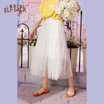 skirt Summer 2020 S M L Mid length dress commute Natural waist A-line skirt Type A 18-24 years old More than 95% Elf sack / goblin's pocket polyester fiber Sequins Simplicity Polyester 100%