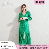 Dress Summer 2020 S M L Mid length dress singleton  three quarter sleeve commute V-neck High waist Single breasted A-line skirt puff sleeve 18-24 years old Type A Goblin's pocket Retro Button More than 95% other Other 100% Same model in shopping mall (sold online and offline)