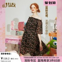 Dress Summer 2020 S M L Middle-skirt singleton  Short sleeve Sweet One word collar Elastic waist Socket A-line skirt routine 18-24 years old Type A Goblin's pocket Lotus leaf edge More than 95% other Other 100% princess Same model in shopping mall (sold online and offline)