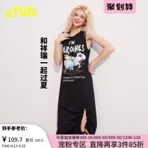 Dress Summer 2020 Small temper black small temper black a S M L XL Mid length dress singleton  Sleeveless street Crew neck middle-waisted Socket other routine 18-24 years old Type H Goblin's pocket printing 1020_ AL0173 More than 95% cotton Cotton 100% Europe and America