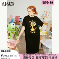 Dress Summer 2020 Universal Black Universal black a universal black B S M L Short skirt singleton  Short sleeve commute Crew neck middle-waisted Cartoon animation Socket A-line skirt routine 18-24 years old Type A Goblin's pocket Retro Patchwork lace ten million two hundred thousand and ninety-seven
