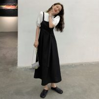 Dress Summer 2021 The coat is white and the dress is black Average size (80-130 kg) longuette Two piece set Sleeveless commute square neck Solid color Socket A-line skirt straps 18-24 years old Type A Korean version 31% (inclusive) - 50% (inclusive) other