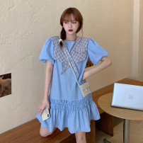 Dress Summer 2021 White, blue Average size Short skirt singleton  Short sleeve commute other High waist Solid color Socket A-line skirt puff sleeve 18-24 years old Type A Korean version Button 31% (inclusive) - 50% (inclusive)