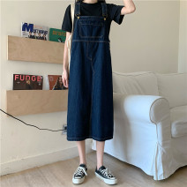 Dress Spring 2021 blue S,M,L Mid length dress singleton  Sleeveless commute Loose waist Socket straps 18-24 years old Korean version 51% (inclusive) - 70% (inclusive) other other