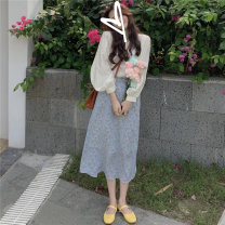 skirt Spring 2021 Average size Jacket, floral skirt Mid length dress commute High waist Broken flowers Type A 18-24 years old 51% (inclusive) - 70% (inclusive) Korean version