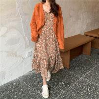 Dress Spring 2021 Orange cardigan , White cardigan , Orange suspender skirt , Green suspender skirt Average size commute other other other other other 18-24 years old Other / other Korean version 51% (inclusive) - 70% (inclusive) other other