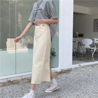 skirt Spring 2021 S,M,L white commute High waist Solid color 18-24 years old 51% (inclusive) - 70% (inclusive) other Korean version
